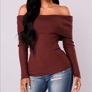 Off shoulder Burgundy /red brown sweater